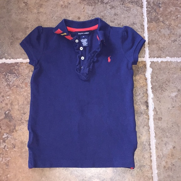 35658162 Girls Ralph Lauren Polo Ruffle navy blue shirt 6. M_5b4fd84c4ab63364e0125154